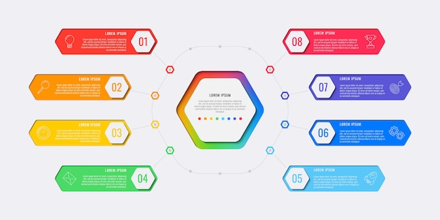 Acht stappen infographic sjabloon met zeshoekige elementen, marketing pictogrammen en voorbeeldtekst