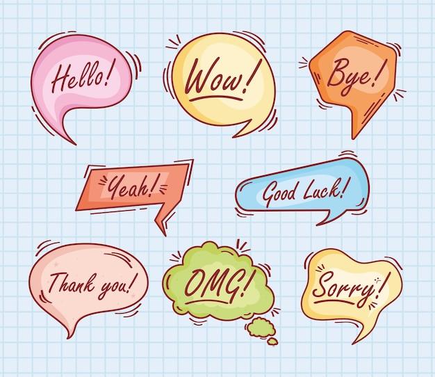 Acht tekstballonnen doodle pictogrammen