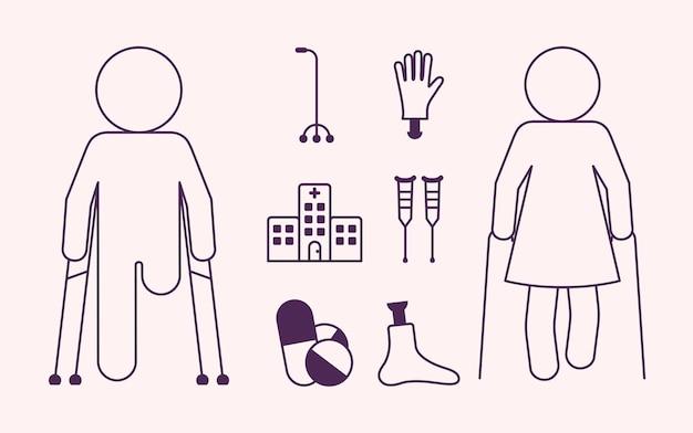 Acht toegankelijkheidssymbolen voor gehandicapten