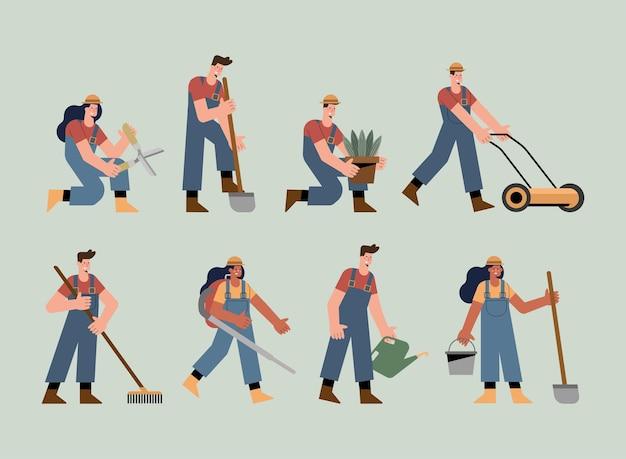 Acht tuinmannen die activiteiten beoefenen