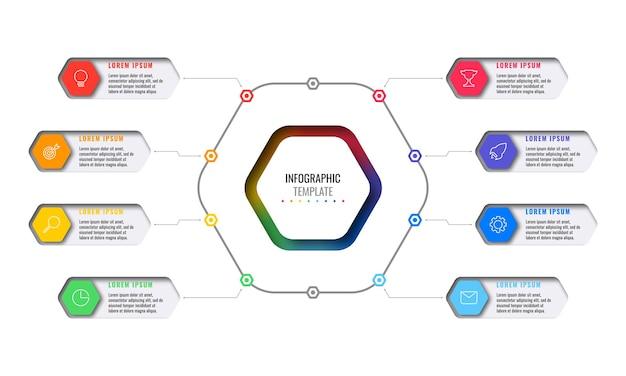 Acht veelkleurige zeshoekige elementen met dunne lijnpictogrammen in zakelijke infographic sjabloon