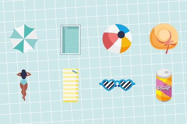Acht zomervakanties pictogrammen