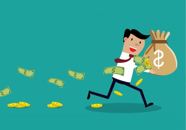 Achteloze zakenman die een gescheurde geldzak draagt.