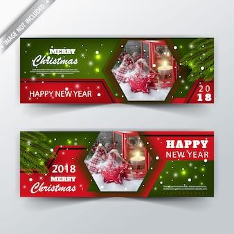 Achter en voor kerstmis reclamebanner