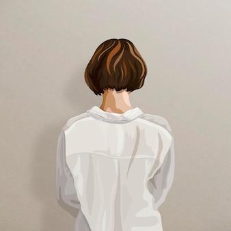 Achter mening van vrouw op een beige sticker als achtergrond