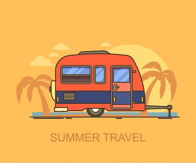 Achter vervoer of auto trailer op het strand