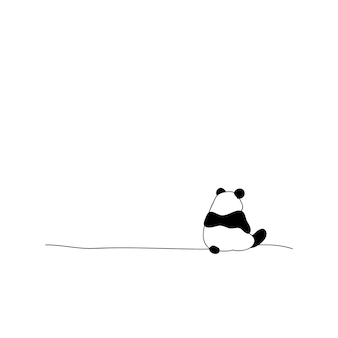 Achteraanzicht eenzame panda vectorillustratie