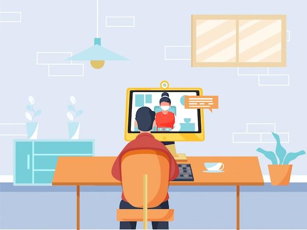 Achteraanzicht van cartoon man met videogesprek van vrouw in desktop thuis werkplek tijdens coronavirus.