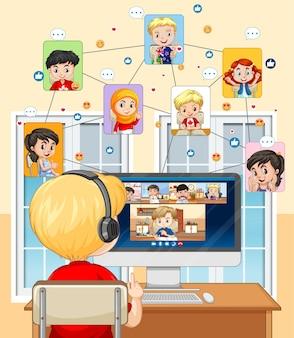 Achteraanzicht van een jongen communiceert videoconferentie met vrienden thuis scène Premium Vector
