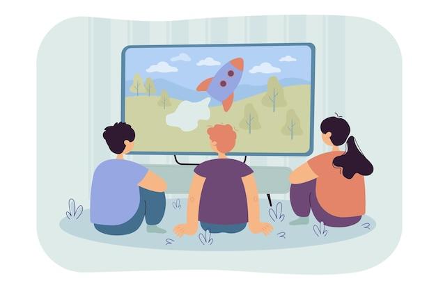 Achteraanzicht van kinderen kijken naar tv-show geïsoleerde vlakke afbeelding. cartoon afbeelding