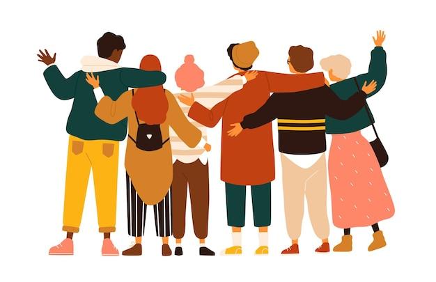 Achteraanzicht van tienerjongens en meisjes of schoolvrienden die samen staan, elkaar omhelzen, handen zwaaien