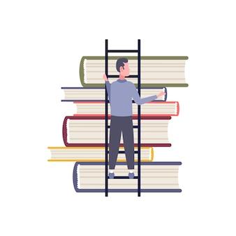 Achteraanzicht zakenman klimmen ladder boek stapel man student aspiratie tot kennis onderwijs concept platte geïsoleerde mannelijke stripfiguur volledige lengte