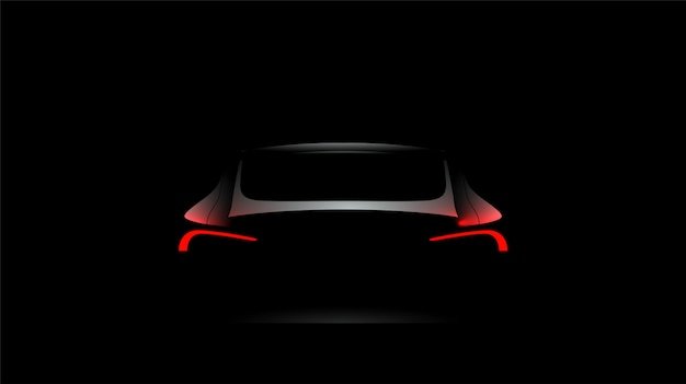 Achterautosilhouet met rode lichten op donkere zwarte achtergrond