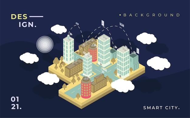 Achtergrond 3d plat isometrische slimme stad met wolken