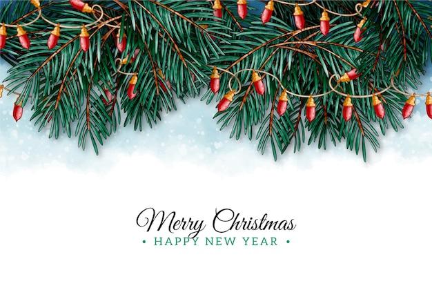 Achtergrond aquarel kerstboom takken
