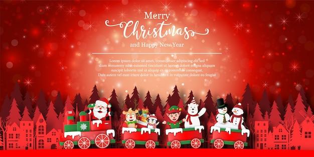 Achtergrond banner van de kerstman en vriend op een trein in de stad