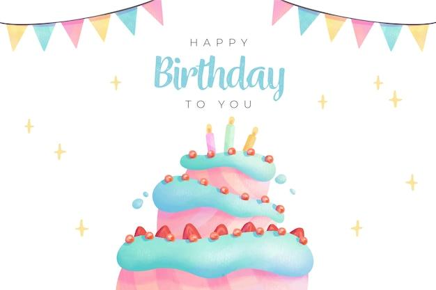 Achtergrond en cake van de waterverf de gelukkige verjaardag