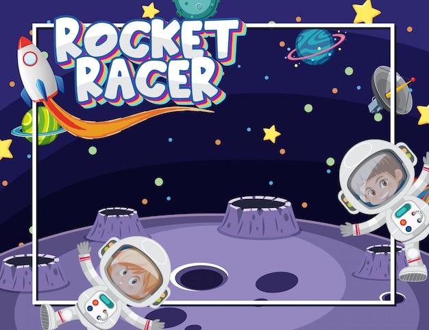 Achtergrond frame sjabloon met astronauten en veel planeten in de ruimte