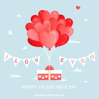 Achtergrond geschenk met valentijn ballonnen