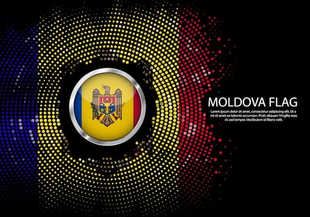 Achtergrond halftone gradiëntmalplaatje van de vlag van moldavië.