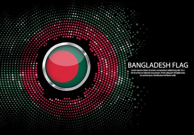 Achtergrond halftone verloop sjabloon of led-neonlicht op ronde puntjes stijl van bangladesh