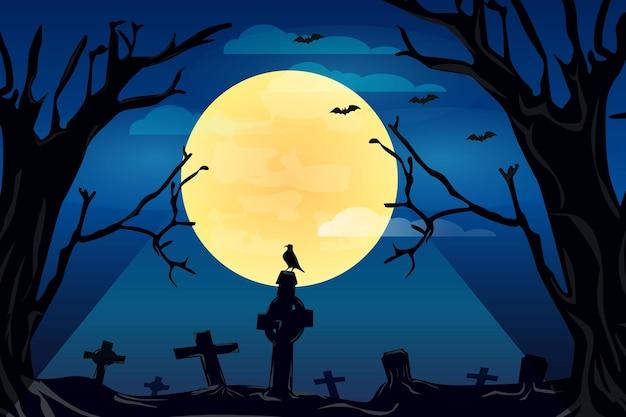 Achtergrond halloween-raaf op kerkhof