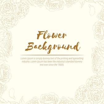 Achtergrond hand getrokken bloem rose schets floral gravure