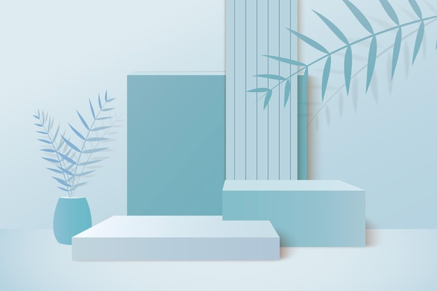 Achtergrond het 3d blauwe pastelkleur teruggeven met podium en minimale blauwe muurscène
