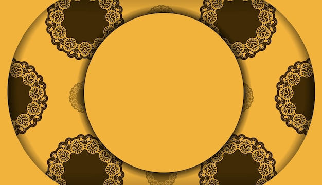 Achtergrond in gele kleur met mandala bruin ornament en een plek onder het logo