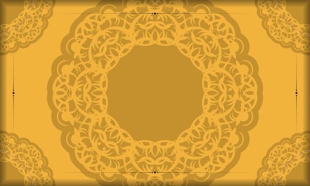 Achtergrond in gele kleur met mandala bruin ornament voor ontwerp onder logo of tekst