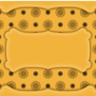 Achtergrond in gele kleur met mandala bruin patroon voor logo-ontwerp