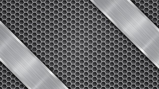 Achtergrond in grijze kleuren, bestaande uit een metalen geperforeerd oppervlak met gaten en een gepolijste plaat met metalen textuur, schittering en glanzende randen