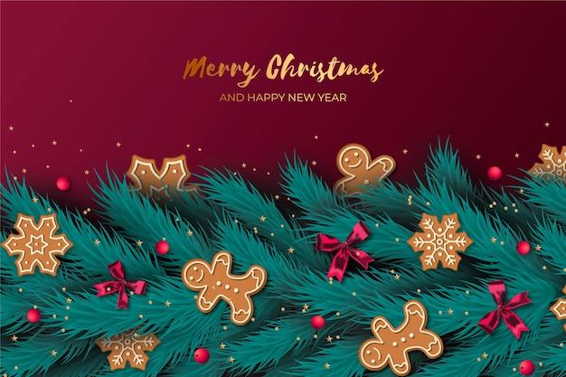 Achtergrond kerstmis realistisch klatergoud