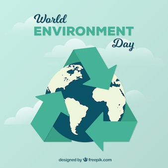 Achtergrond met aarde en recycling symbool