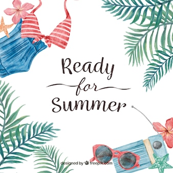 Achtergrond met bericht 'klaar voor zomer' met aquarelelementen