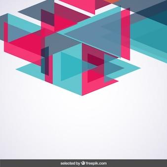 Achtergrond met blauwe en roze driehoeken
