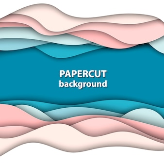 Achtergrond met blauwe en roze kleur papier gesneden