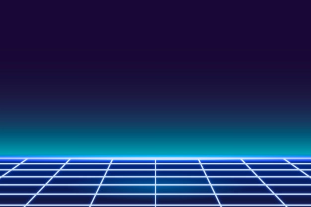 Achtergrond met blauwe raster-neonpatroon