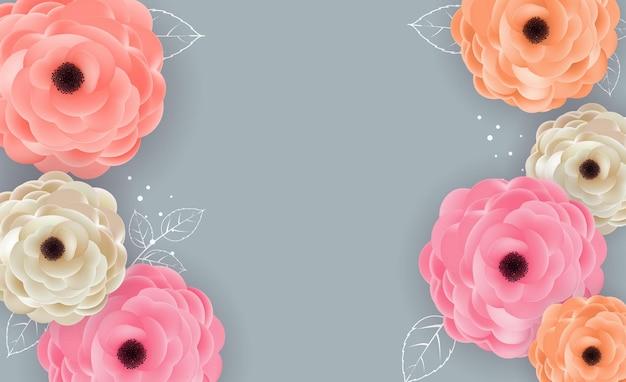 Achtergrond met bloemen en bladeren sjabloon