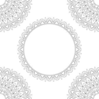 Achtergrond met bloemenmandala's, kleurboek, vectorillustratie