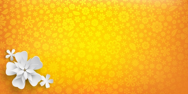 Achtergrond met bloementextuur in gele kleuren en verschillende grote witte papieren bloemen met zachte schaduwen