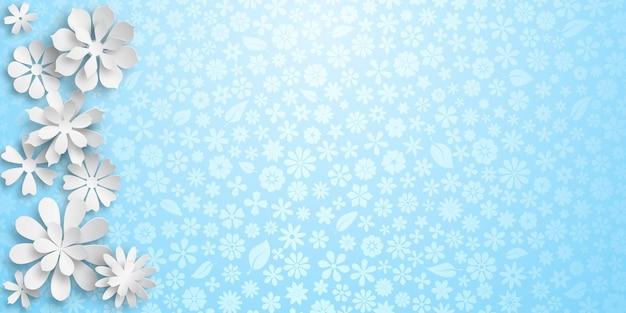 Achtergrond met bloementextuur in lichtblauwe kleuren en verschillende grote witte papieren bloemen met zachte schaduwen