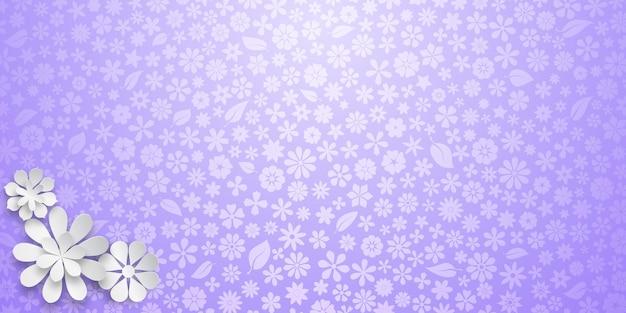 Achtergrond met bloementextuur in paarse kleuren en verschillende grote witte papieren bloemen met zachte schaduwen