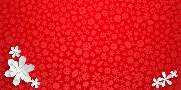 Achtergrond met bloementextuur in rode kleuren en verschillende grote witte papieren bloemen met zachte schaduwen