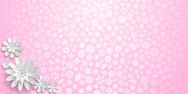 Achtergrond met bloementextuur in roze kleuren en verschillende grote witte papieren bloemen met zachte schaduwen