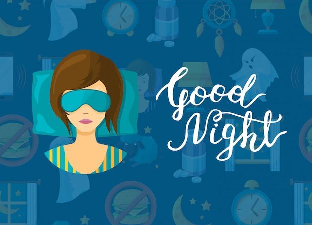 Achtergrond met cartoon slaap elementen, slapende vrouw persoon in masker en belettering illustratie