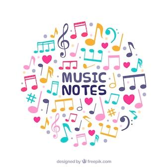 Achtergrond met cirkel van gekleurde muzieknoten