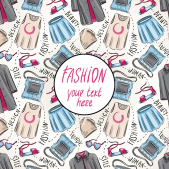 Achtergrond met dameskleding en accessoires en plaats voor tekst