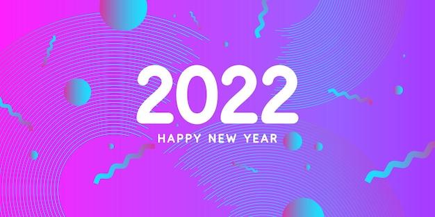 Achtergrond met de inscriptie happy new year 2022 vectorillustratie in vlakke vlakke stijl modern ge...