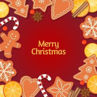 Achtergrond met decoraties, kerst bakken en snoep. illustratie